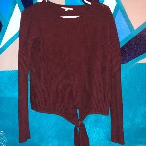 tied burgundy sweater
